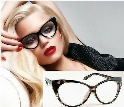 Vintage 50s/60s Style Clear Lens Cat Eye Sunglasses Retro Rockabilly Eye Glasses