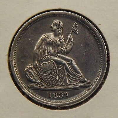 1837 10C Seated Liberty Dime  Small Date No Stars  AU Almost Uncirculated