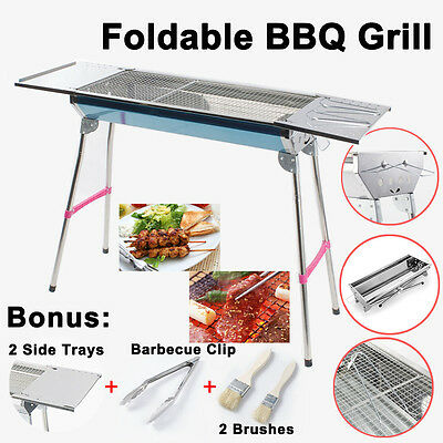 Large Portable Folding Charcoal BBQ Grill Stainless Steel Outdoor Picnic Camping