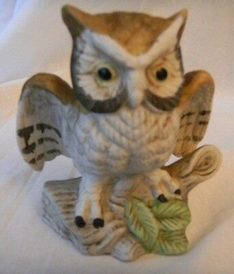 Vintage Ceramic Owl Figure Brown And White Wings Outstretched on Tree Limb