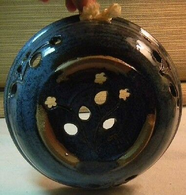 Pottery Bowl Joy Paco Flower Cutouts Hand Made Design Speckled Blue Mexico