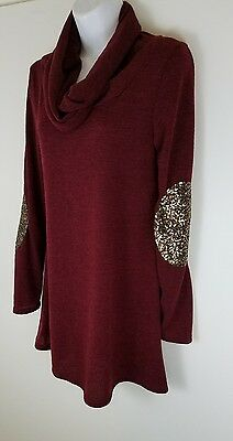 NWT! Pink Blush Maternity Cowl Neck Sweater, Rust, Small