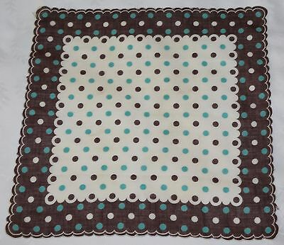 Vtg Hanky Handkerchief ~ White with Brown Border and Teal & Brown Polka Dots   A