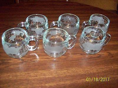 NESTLE NESCAFE Vintage 1970's Etched Glass World Globe 6 Coffee Cups Mugs Promo