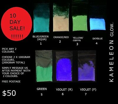 200g Multi colour glow in the dark Pigment Powder for arts and crafts etc.