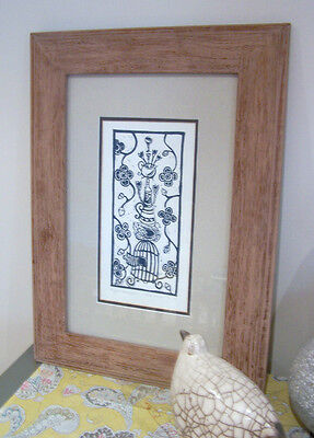 ~Original Art~Mount and Frame~Original Signed Lino Cut~Bird~French country