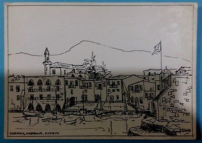 Cyprus postcard:Kyrenia Harbour,by George Meikle,before 1974 posted with stamps.