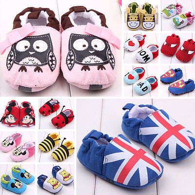 Newborn Baby Girl Boy Toddler Cartoon Soft Sole Crib Shoes First Shoes Walker