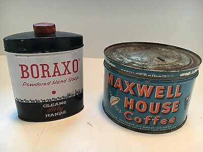 Vintage Boraxo Soap and Maxwell House Coffee Tins