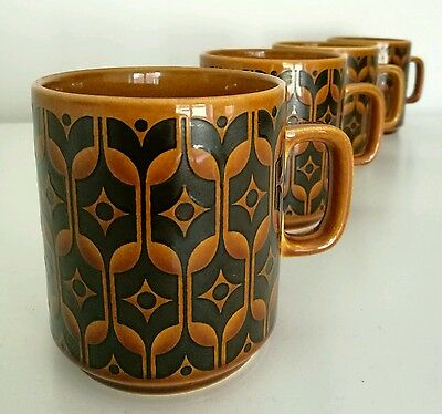 4 x Vintage 1970s Hornsea Pottery Heirloom Mugs Excellent Condition