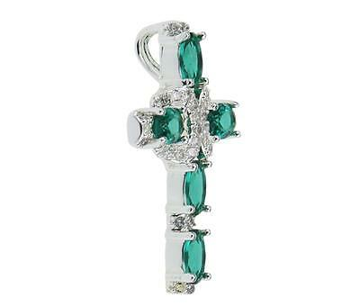 925 Sterling Silver Cross Emerald Gemstone Pendant Jewelry Necklace NO CHAIN