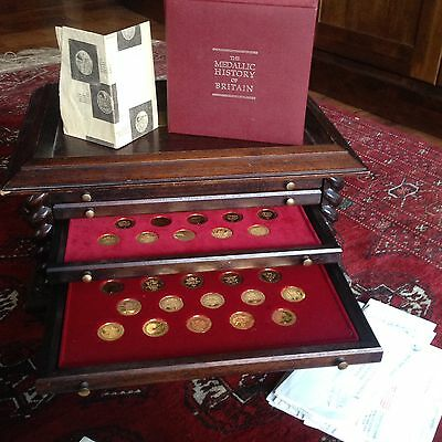 The Medallic History Of Britain 24ct Gold On Sterling Silver 100 Coin Set 1979!!