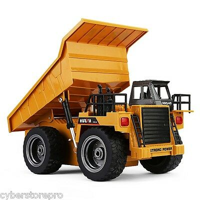 HUINA 1540 1:18 6CH RC Alloy Dump Truck Auto Demonstration Function YELLOW