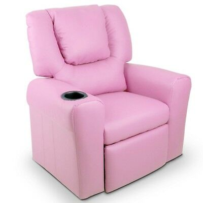 Kids Padded PU Leather Recliner Chair Pink NEW