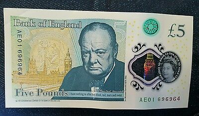 Bank of England UK New Polymer £5 Five Pound Note Banknote serial AE01 696964 !!