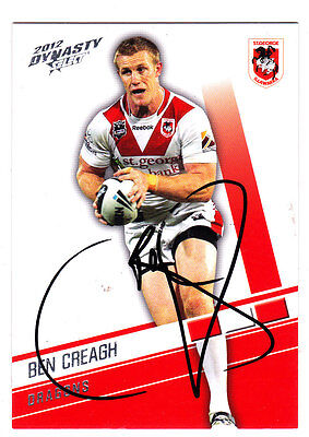 Ben Creagh St George Illawarra Dragons 2012 Select Nrl Dynasty Signed Card