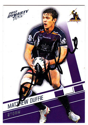 Matthew Duffie Melbourne Storm 2012 Select Nrl Dynasty Signed Card