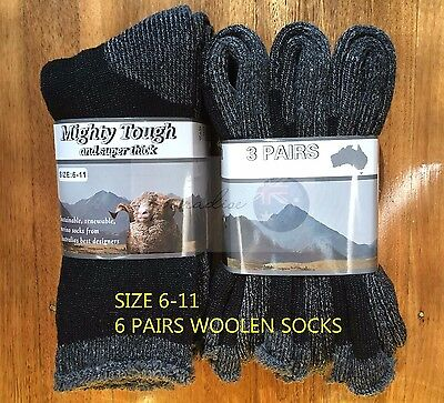 6 Pairs  6-11 Heavy Duty Australian Merino Extra Thick Wool Work Sock Black/Grey