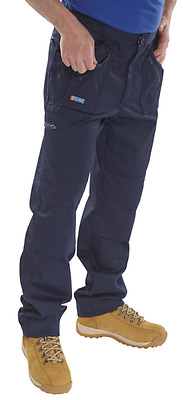 MULTIPACKS Beeswift Click Action Work Trousers Navy or Black Cargo Pockets Pants