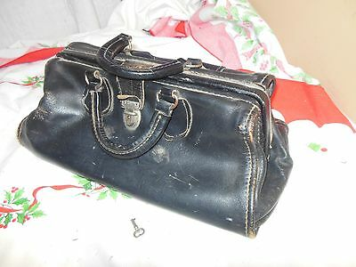 Antique Doctors Leather Prescription Bag With Key Velva-Hide Cowhide Wear Best