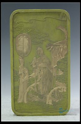 Fine Chinese Beautiful Carved Characters Light Green Color Ink Stone