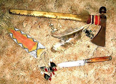 Indian made tomahawk, squaw knife and beaded sheathe from Pine Ridge Reservation