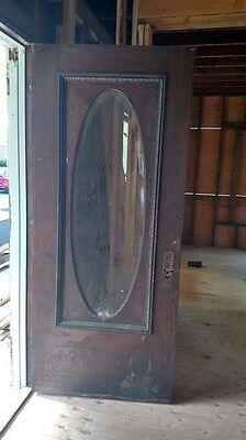 Antique  Oval Beveled Glass  Entry Door
