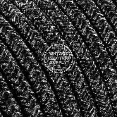Black Linen Round Cloth Covered Electrical Wire - Braided Linen Fabric Wire