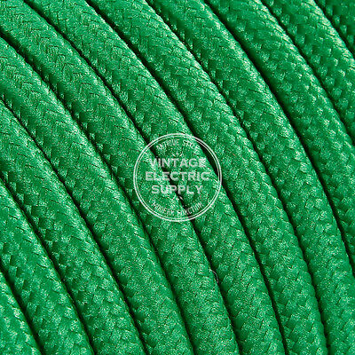 Green Round Cloth Covered Electrical Wire - Braided Rayon Fabric Wire