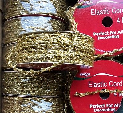 "4 ROLLS ""GOLD ELASTIC"" STRETCH CORD. GIFTS, PARCELS, CRAFTS & WRAPPING. 4m x 3mm"