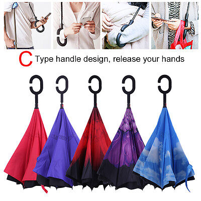 Unisex Folding Windproof Double Layer Reverse Inverted Upside Down Umbrella LOT