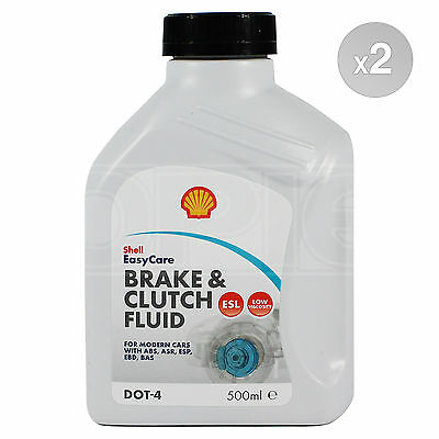 Shell DOT 4 ESL Brake & Clutch Fluid High Performance 2 x 500ml 1.0L