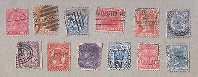 Australia Selection of 12 Used Queen Victoria Stamps