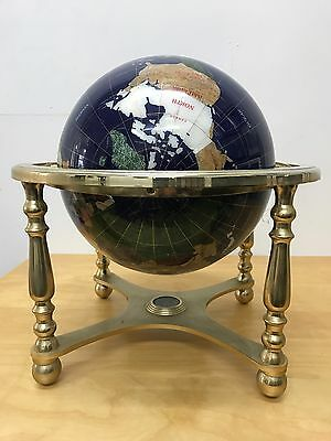 Vintage Globe brass Gemstone large with inset compass