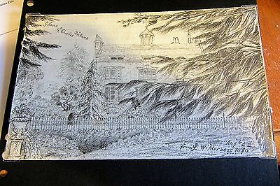 Lady E. Tennyson Original Drawing of Charles Dickens House & Personal Card