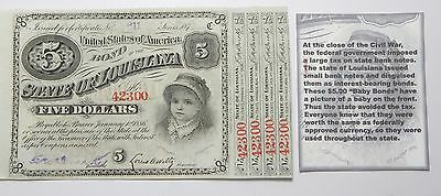 1886, State Of Louisiana 5 Dollars UNC