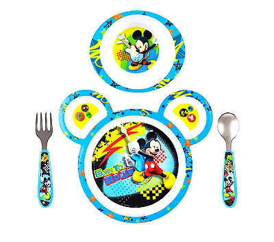 4 PCS Dinnerware Set Disney Baby Mickey Mouse Kids Dishes 3 Section Plate Fun