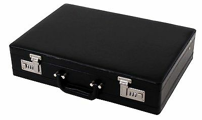 Professional Mens Executive Leather Black Briefcase with Combination Locks