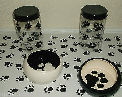 2 x Ceramic Dog Cat Food Feeding Bowls 2 x Food Containers 1 x Large Mat
