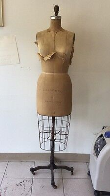 Vintage 1964 Wolf Mannequin Collapsible Dress Form Original Cage Cast Iron Stand