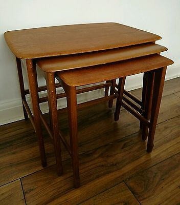 Superb Vintage Mid Century Modern Danish Style Teak Nest Tables