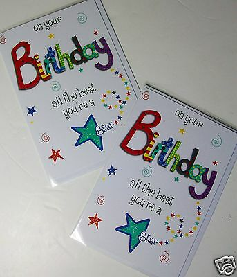 MALE OPEN BIRTHDAY CARDS X 12, JUST 37p, 'ECLIPSE' BRAND, FOILED, WRAPPED (B508
