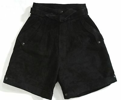 vtg 80s RAFAELI Black Suede high waist Pleated Shorts sz 5/6 XS Cuffs USA
