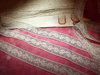 "9.7  yds ANTIQUE Victorian Valenciennes Net Insertion Lace White 350"" VINTAGE"