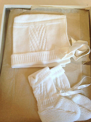 Vintage Sears Baby Knitted Bootees & Bonnet Set White In Box Unused