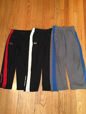 Lot Of 3 Under Armour Boys Youth Size 6 Black Red Blue Gray Pants Polyester