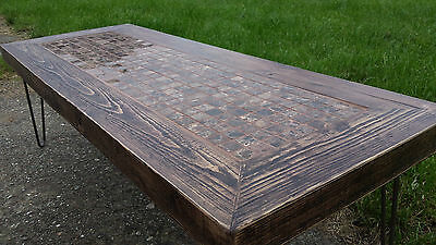 Industrial couch table / coffee table. Solid reclaimed wood. Marble mosaic tiles