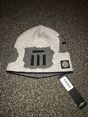 Authentic New Kids Grey And Black Stone Island Beanie Hat 6-8 Years