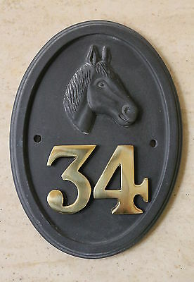 HORSE Motif House number sign - Slate Finish