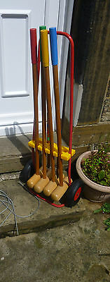 VINTAGE CHILDS WOODEN CROQUET SET OUTDOOR GAMES on PORTABLE TROLLY
